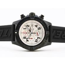 Replique Breitling Super Avenger Chronograph PVD de travail avec cadran blanc-bracelet en caoutchouc - Attractive Montre Breitling Super Avenger pour vous 26833