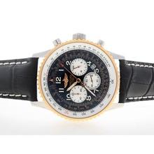 Replique Breitling Navitimer Chronographe de travail Deux cas Tone avec cadran noir-Nombre de marquage - Attractive Breitling Navitimer montre pour vous 26814
