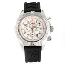 Replique Breitling Super Avenger travail Chronographe avec cadran blanc-bracelet en caoutchouc - Attractive Montre Breitling Super Avenger pour vous 26747