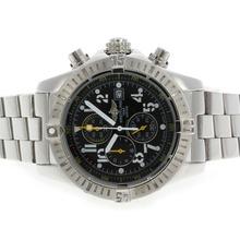 Replique Breitling Super Avenger de travail Chronographe avec cadran noir S / S-jaune Aiguilles - Attractive Montre Breitling Super Avenger pour vous 26702
