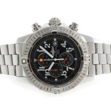 Replique Breitling Super Avenger de travail Chronographe avec cadran noir S / S-Orange Aiguilles - Attractive Montre Breitling Super Avenger pour vous 26701