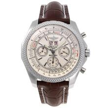 Replique Breitling for Bentley 6,75 chronographe Big Date suisse Valjoux 7750 Mouvement avec cadran blanc-bracelet en cuir - Attractive Breitling Bentley Regarder pour vous 26605