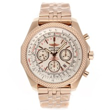 Replique Breitling for Bentley chronographe suisse Valjoux 7750 Mouvement complet en or rose avec cadran blanc - Attractive Breitling Bentley Regarder pour vous 26603