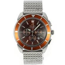 Replique Breitling Super Ocean travail Chronographe avec cadran brun et lunette S / S - Attractive Breitling Super Ocean montre pour vous 26600