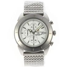 Replique Breitling Super Ocean travail Chronographe avec cadran blanc et lunette S / S - Attractive Breitling Super Ocean Watch pour vous 26597
