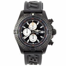 Replique Breitling Super Avenger travail Chronographe PVD affaire avec cadran noir-Bracelet Caoutchouc - Attractive Montre Breitling Super Avenger pour vous 26592