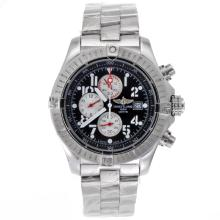 Replique Breitling Super Avenger de travail Chronographe avec cadran noir S / S-Rouge Aiguilles - Attractive Montre Breitling Super Avenger pour vous 26579
