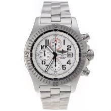 Replique Breitling Super Avenger Chronograph Valjoux 7750 Swiss marqueurs numéro de mouvement avec cadran blanc - Belle montre Breitling Super Avenger pour vous 26468