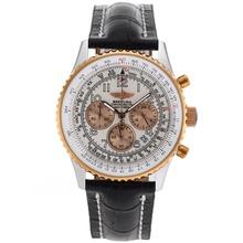 Replique Breitling Navitimer Chronographe de travail Deux marqueurs de cas Nombre Tone avec cadran blanc-bracelet en cuir - Belle Breitling Navitimer montre pour vous 26422