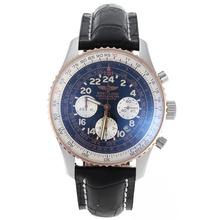 Replique Chronographe Breitling Cosmonaute suisse Valjoux 7750 Mouvement Deux cas Tone avec cadran noir-bracelet en cuir - Attractive Breitling Cosmonaute Montre pour vous 26395