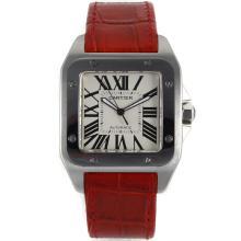 Replique Cartier Santos 100 Mouvement suisse ETA 2813 avec bracelet en cuir cadran blanc-rouge - Attractive Cartier Santos montre pour vous 28990