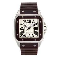 Replique Cartier Santos 100 Swiss ETA 2836 Mouvement avec cadran Bracelet en caoutchouc blanc-Brown - Attractive Cartier Santos montre pour vous 28982