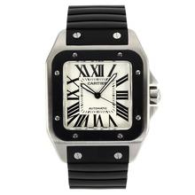Replique Cartier Santos 100 Swiss ETA 2836 Mouvement avec cadran blanc bracelet en caoutchouc noir-- Attractive Cartier Santos montre pour vous 28981