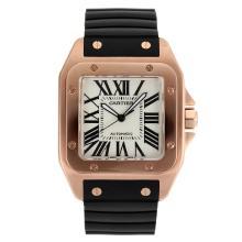 Replique Cartier Santos 100 Swiss ETA 2836 Mouvement boîtier en or rose avec bracelet en caoutchouc Cadran Blanc-Noir - Attractive Cartier Santos montre pour vous 28980