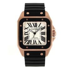 Replique Cartier Santos 100 Swiss ETA 2836 Mouvement boîtier en or rose PVD Lunette avec bracelet en caoutchouc Cadran Blanc-Noir - Attractive Cartier Santos montre pour vous 28979