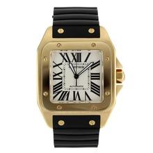 Replique Cartier Santos 100 Swiss ETA 2836 Mouvement boîtier en or complète avec bracelet en caoutchouc Cadran Blanc-Noir - Attractive Cartier Santos montre pour vous 28977