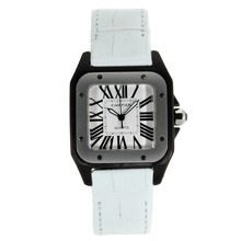 Replique Cartier Santos 100 PVD Case avec bracelet en cuir blanc Cadran Blanc-- Attractive Cartier Santos montre pour vous 28894