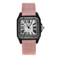 Replique Cartier Santos 100 PVD Case avec bracelet en cuir cadran blanc-rose - Attractive Cartier Santos montre pour vous 28893