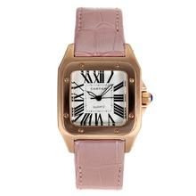 Replique Cartier Santos 100 Rose Glod cas avec bracelet en cuir cadran blanc-rose - Attractive Cartier Santos montre pour vous 28891