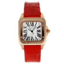 Replique Cartier Santos 100 Rose Glod cas avec bracelet en cuir cadran blanc-rouge - Attractive Cartier Santos montre pour vous 28890