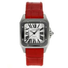 Replique Cartier Santos 100 avec bracelet en cuir cadran blanc-rouge - Attractive Cartier Santos montre pour vous 28889
