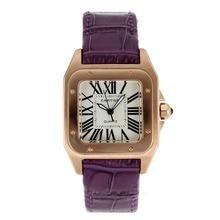 Replique Cartier Santos 100 Rose Glod cas avec bracelet en cuir cadran blanc-violet - Attractive Cartier Santos montre pour vous 28888