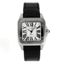 Replique Cartier Santos 100 avec bracelet en cuir blanc Cadran Noir-- Attractive Cartier Santos montre pour vous 28886