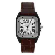 Replique Cartier Santos 100 PVD Case avec bracelet en cuir brun cadran blanc-- Attractive Cartier Santos Montre pour vous 28885
