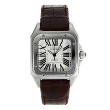 Replique Cartier Santos 100 avec bracelet en cuir brun cadran blanc-- Attractive Cartier Santos montre pour vous 28884