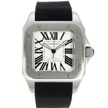 Replique Cartier Santos 100 Swiss ETA 2836 Mouvement avec cadran blanc bracelet en caoutchouc noir-- Attractive Cartier Santos montre pour vous 28793