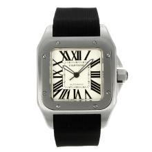 Replique Cartier Santos 100 Swiss ETA 2836 Mouvement avec cadran blanc-bracelet en caoutchouc - Attractive montre Cartier Santos pour vous 28765