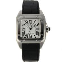 Replique Cartier Santos 100 avec bracelet en cuir blanc Cadran Noir-- Attractive Cartier Santos montre pour vous 28662