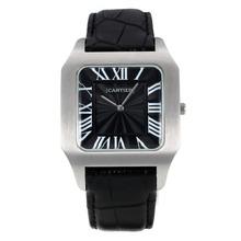 Replique Cartier Santos marqueurs romaine avec bracelet en cuir noir Cadran Noir-- Attractive Cartier Santos montre pour vous 28599