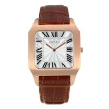Replique Cartier Santos or rose marqueurs romaine cas avec bracelet en cuir Cadran Argent-Brown - Attractive Cartier Santos montre pour vous 28598