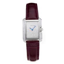 Replique Cartier Tank Case diamant avec bracelet en Cuir Diamant Dial-Purple - Attractive montre Tank de Cartier pour vous 28566