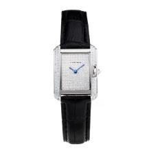 Replique Cartier Tank Case diamant avec bracelet en Cuir Diamant Dial-Noire - Belle montre Tank de Cartier pour vous 28565