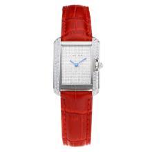 Replique Cartier Tank Case diamant avec bracelet en Cuir Diamant Dial-Rouge - Attractive montre Tank de Cartier pour vous 28563