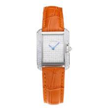 Replique Cartier Tank Case diamant avec bracelet en Cuir Diamant Dial-Orange - Belle montre Tank de Cartier pour vous 28562