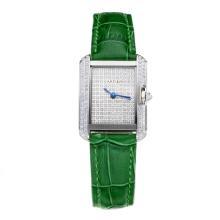 Replique Cartier Tank Case diamant avec bracelet en Cuir Diamant Dial-Vert - Attractive montre Tank de Cartier pour vous 28561