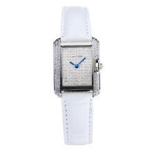 Replique Cartier Tank Case diamant avec bracelet en Cuir Diamant Dial-Blanc - Attractive montre Tank de Cartier pour vous 28560