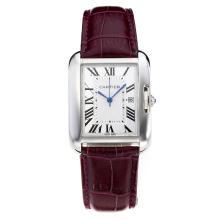 Replique Cartier Tank à bracelet en cuir cadran blanc-violet - Attractive montre Tank de Cartier pour vous 28558