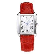 Replique Cartier Tank à bracelet en cuir cadran blanc-rouge - Belle montre Tank de Cartier pour vous 28557