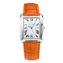 Replique Cartier Tank à bracelet en cuir cadran blanc-orange - Attractive montre Tank de Cartier pour vous 28556