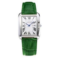 Replique Cartier Tank à bracelet en cuir cadran blanc-vert - Attractive montre Tank de Cartier pour vous 28555