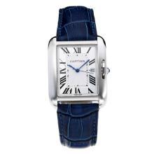 Replique Cartier Tank à bracelet en cuir blanc Cadran-Bleu - Attractive montre Tank de Cartier pour vous 28554