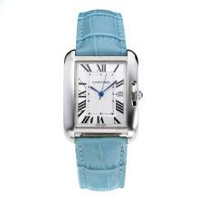 Replique Tank de Cartier avec cadran blanc-bracelet en cuir bleu clair - Montre Cartier Tank attrayant pour vous 28553