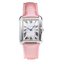 Replique Cartier Tank à bracelet en cuir cadran blanc-rose - Attractive montre Tank de Cartier pour vous 28552