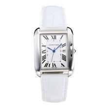 Replique Cartier Tank à bracelet en cuir blanc Cadran-Blanc - Belle montre Tank de Cartier pour vous 28551
