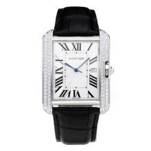 Replique Cartier Tank Diamant cas avec bracelet en cuir blanc Cadran Noir-- Attractive Tank de Cartier montre pour vous 28550