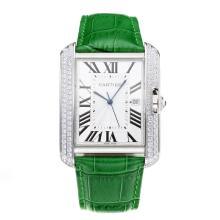 Replique Cartier Tank Diamant cas avec bracelet en cuir cadran blanc-vert - Attractive Tank de Cartier montre pour vous 28549